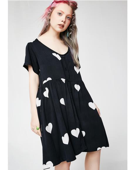 Mono Heart Spot Dress