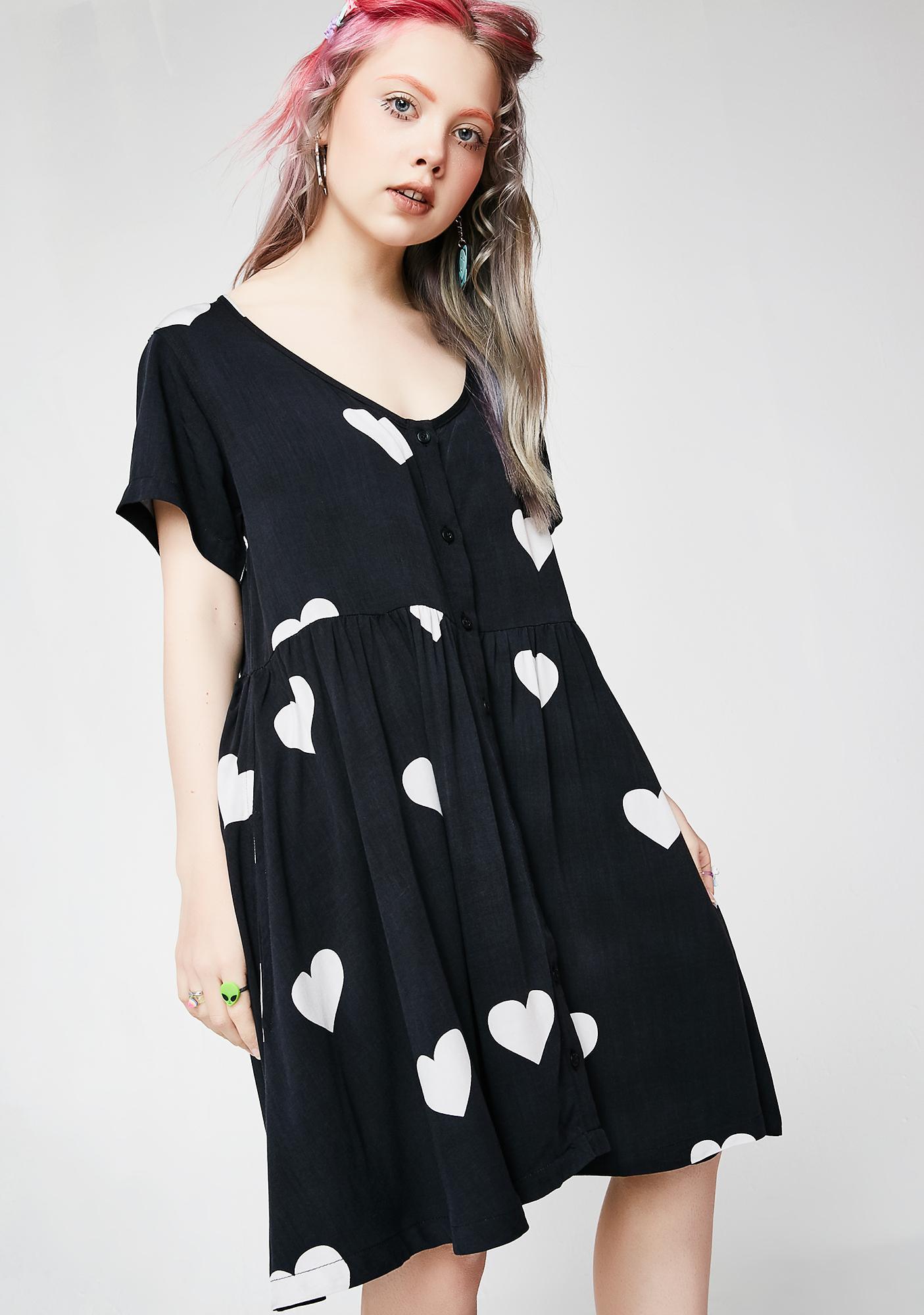 Lazy Oaf Mono Heart Spot Dress
