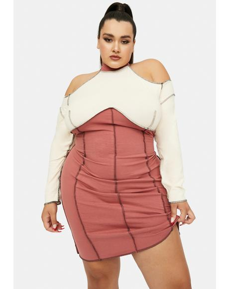 Blush Blissful Wink Colorblock Bodycon Mini Dress