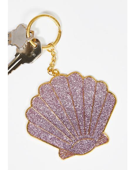Beach Queen Shell Keychain