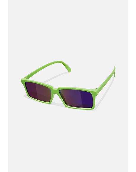 Green Rear View Square Sunglasses