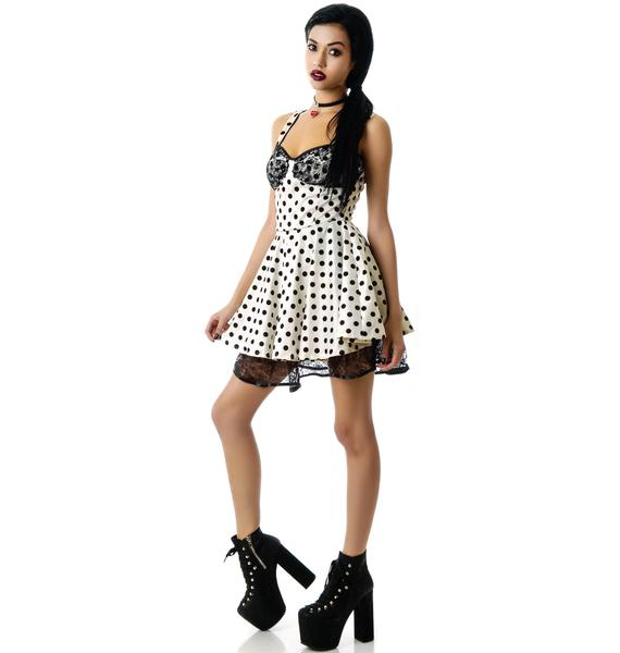 Gemma Lace and Flocked Dots Dress