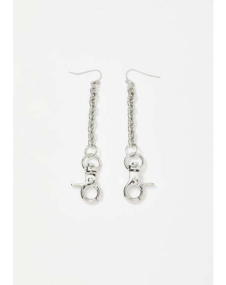 Snap Back Chain Earrings