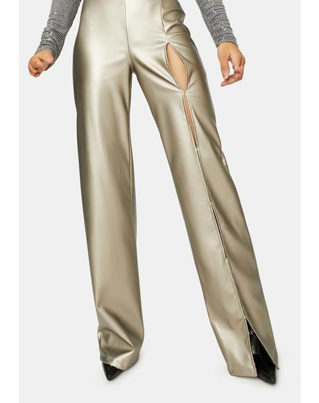 Set The Trend Metallic Vegan Leather Pants