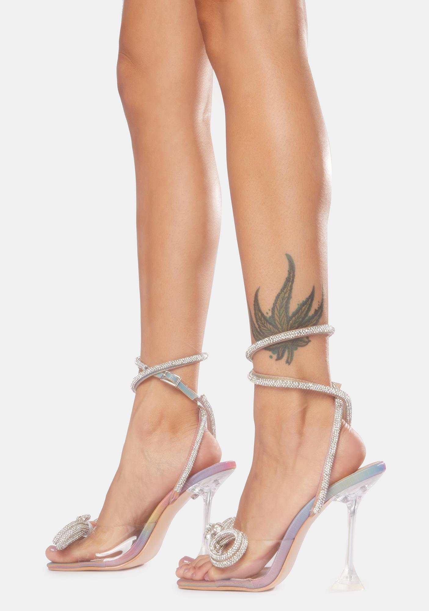 Public Desire Holographic Glimmer Wrap Around Diamante Bow Heels