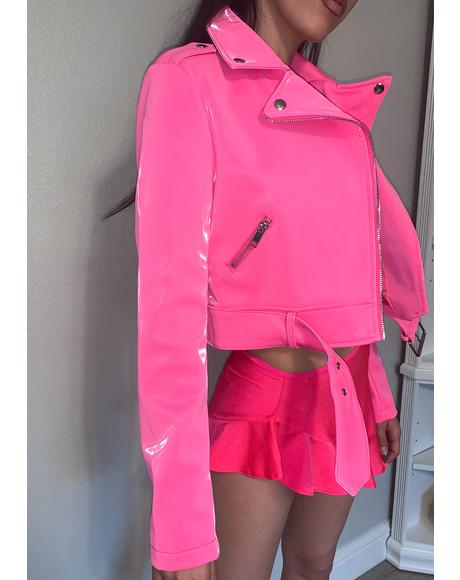 Pink Liquid Velvet Doja Moto Jacket