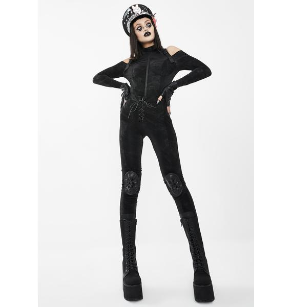 Devil Fashion Black Buckle In Cut Out Top