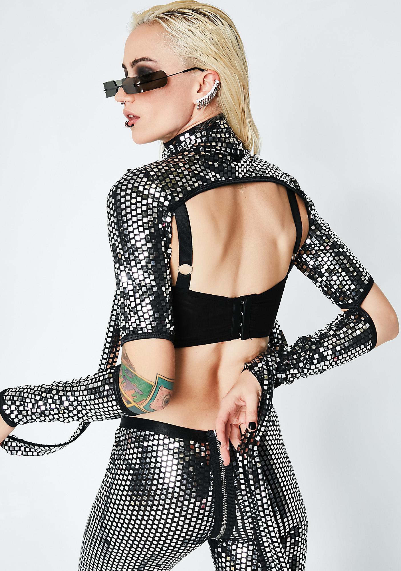 Club Exx Disco Queen Mirrored Shrug