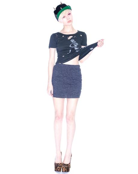Crinkle Fitted Mini Skirt