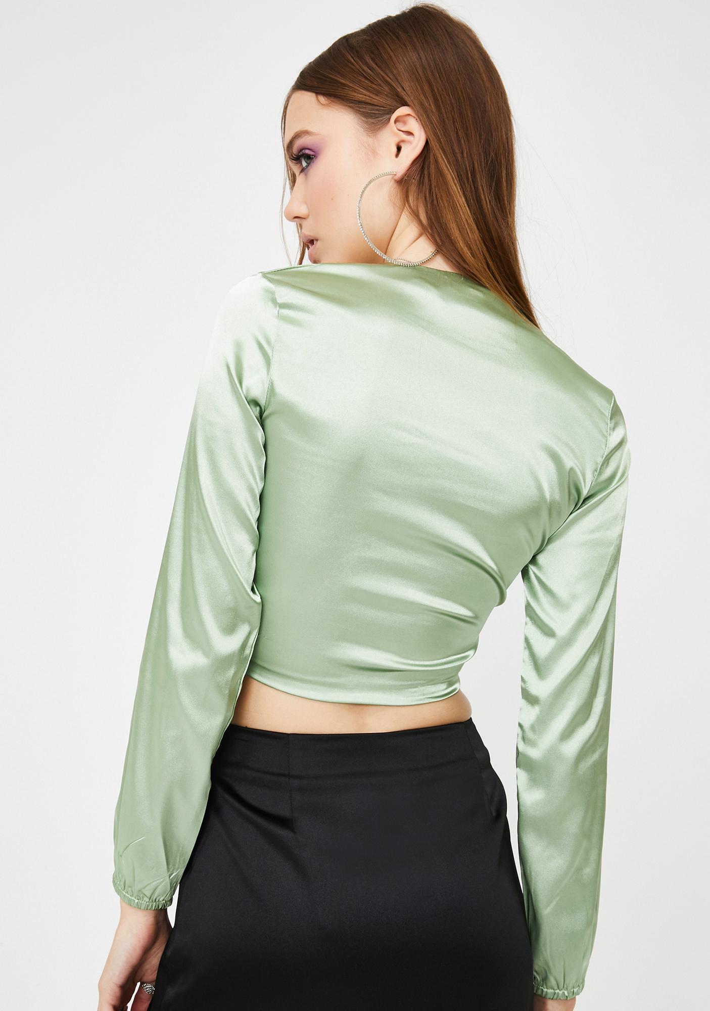 ZEMETA Mint Silk Swirl Crop Top