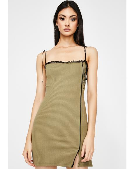 Khaki Snake Slip Dress