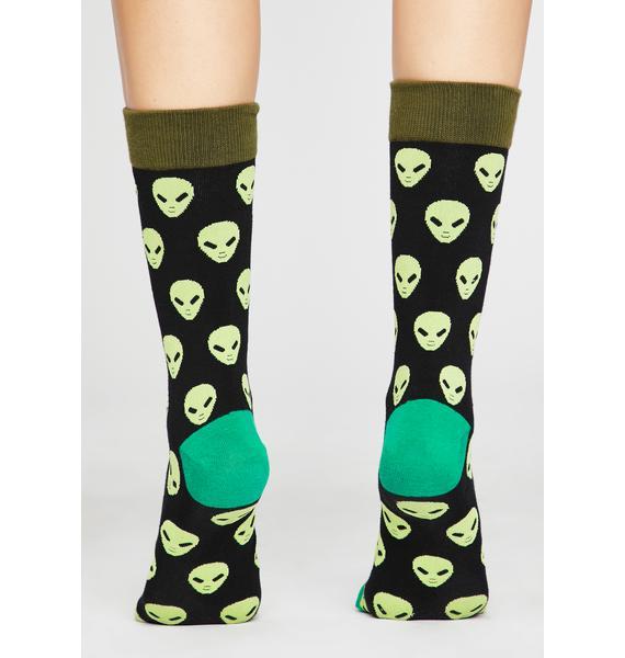 Interstellar Stares Alien Socks