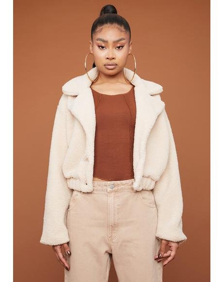 Mocha It's A Mood Teddy Moto Jacket
