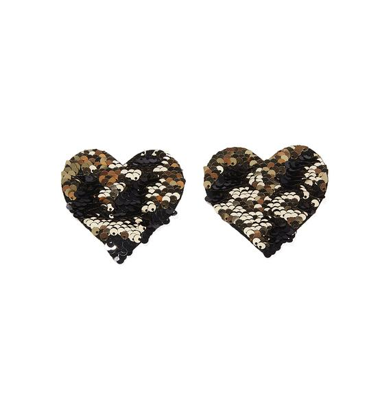 Neva Nude Gold And Black Sequin Pasties