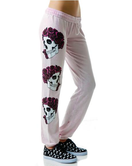 Rose Skull Sweat Pants