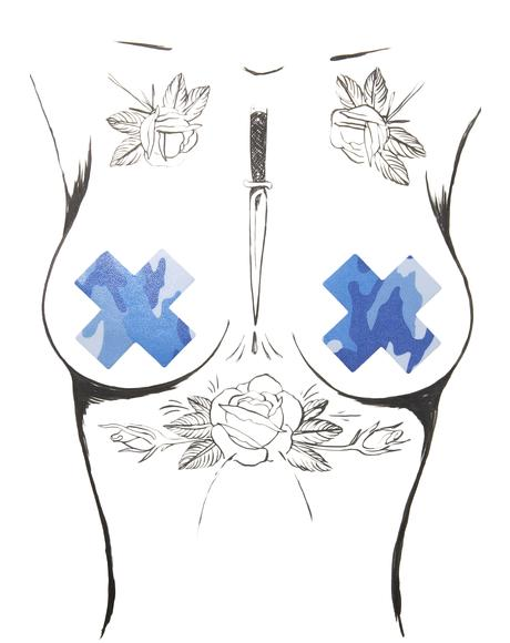 Blue Camo Cross Pasties