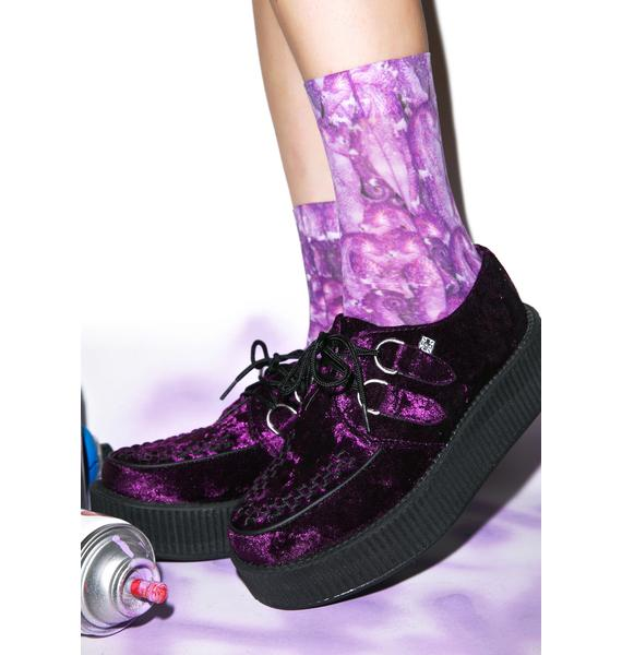 T.U.K. Crushed Velvet Mondo Creepers - Purple