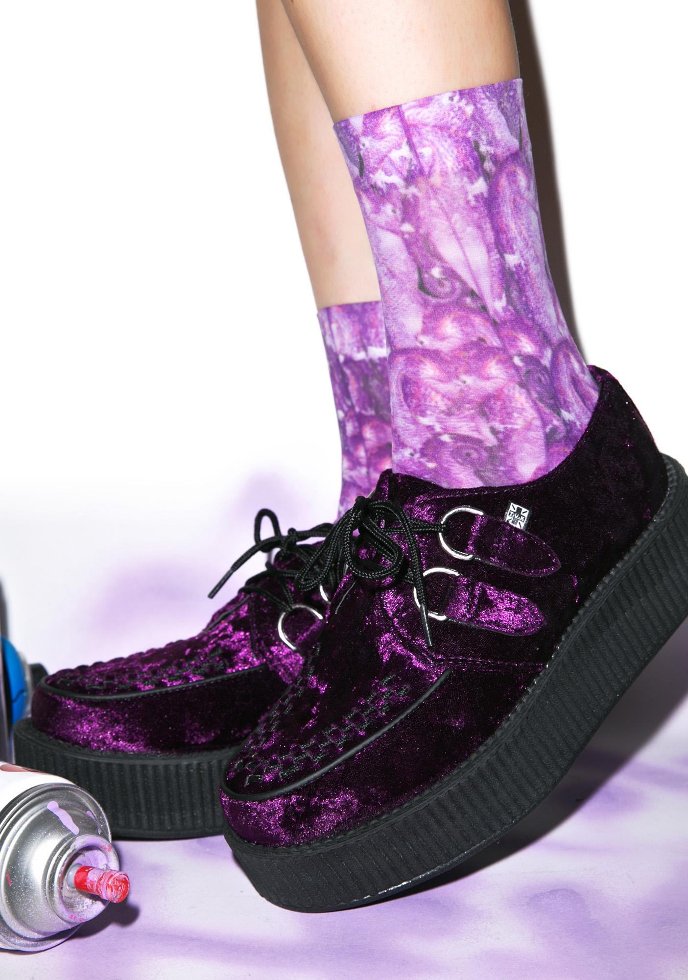 T.U.K. Crushed Velvet Mondo Creepers - Purple