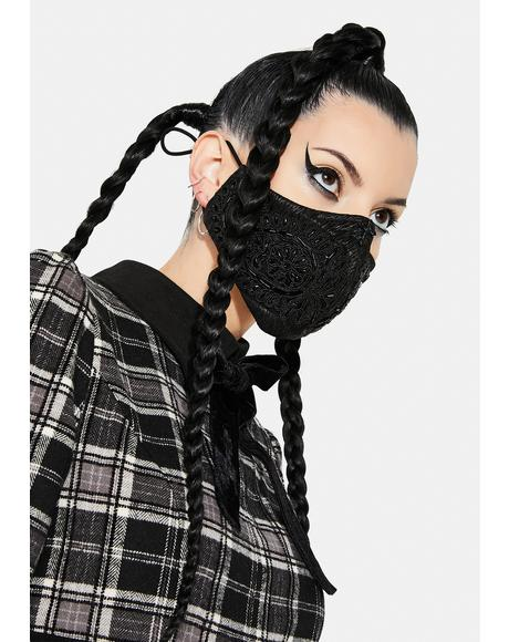 Black Applique Face Mask