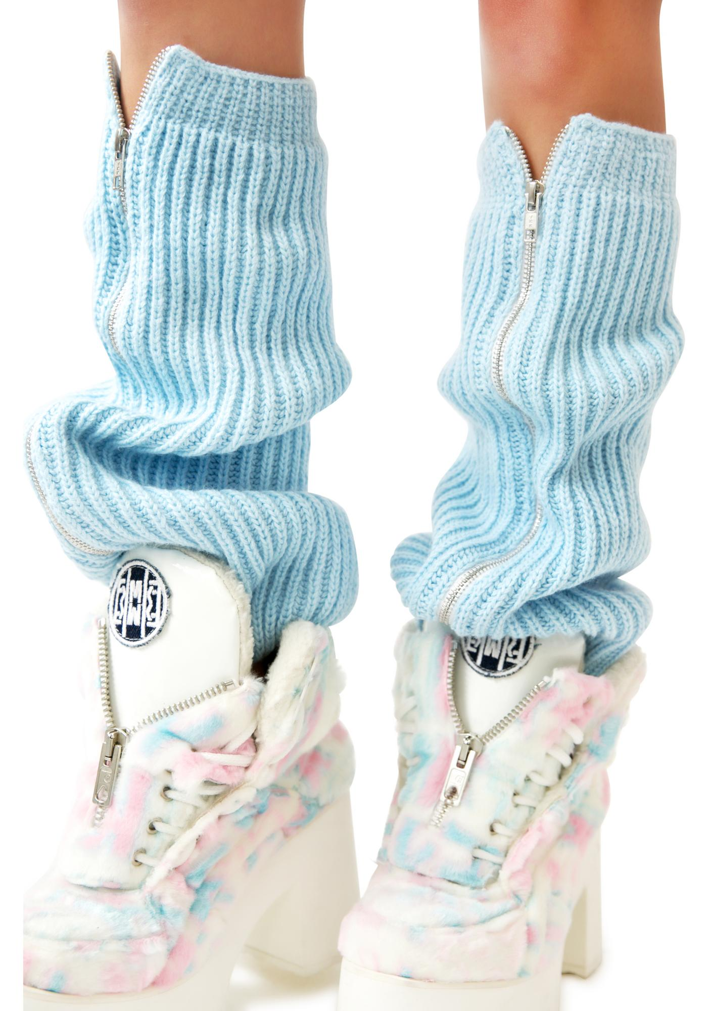 Maria ke Fisherman Blu Fluffy Knit Leg Warmers