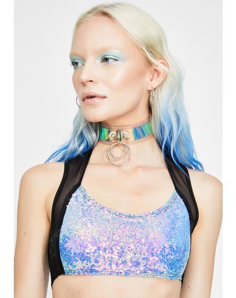 Black Opal Sequin Mesh Top