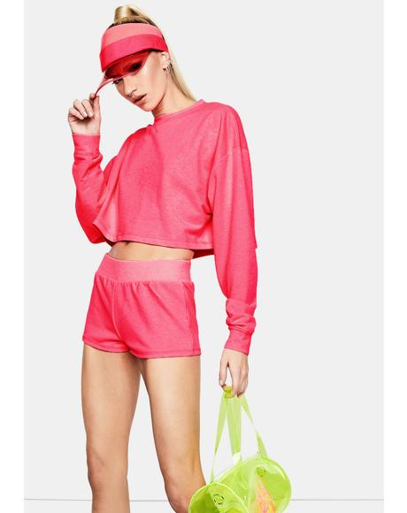 Fuchsia Feel The Rush Micro Lounge Shorts