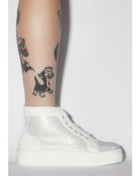 White Jumpman Rhinestone Sneakers