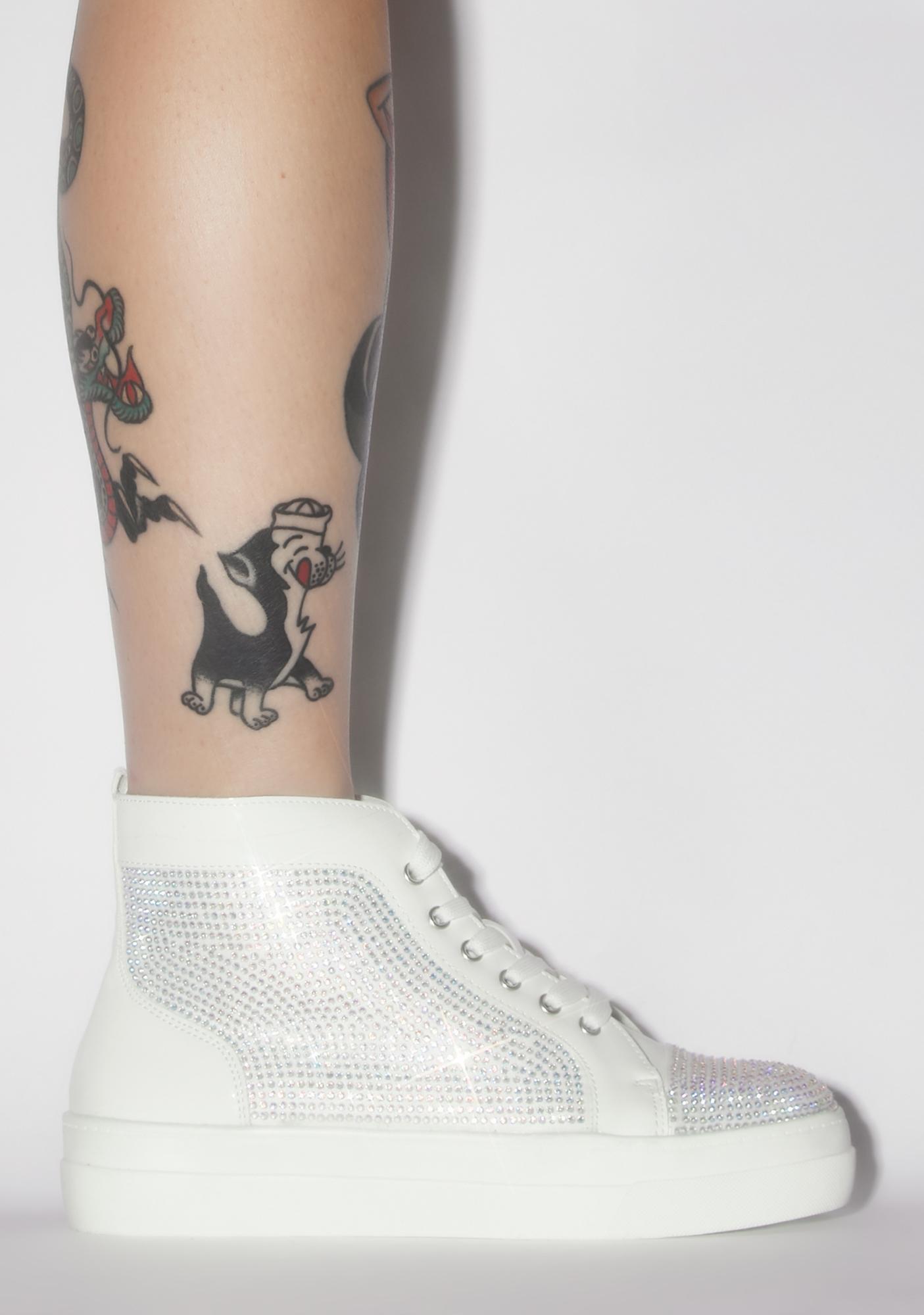 AZALEA WANG White Jumpman Rhinestone Sneakers
