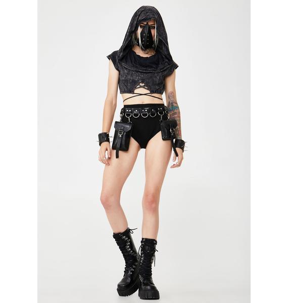 Club Exx Desert Reaper Hooded Crop Top