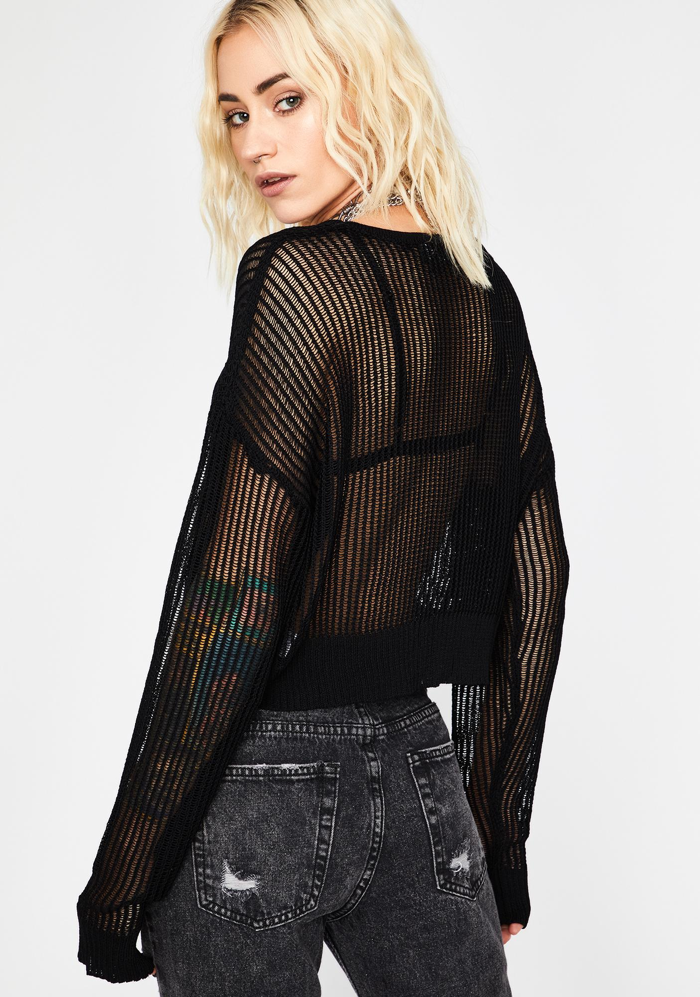 Black Do Or Dare Sheer Sweater