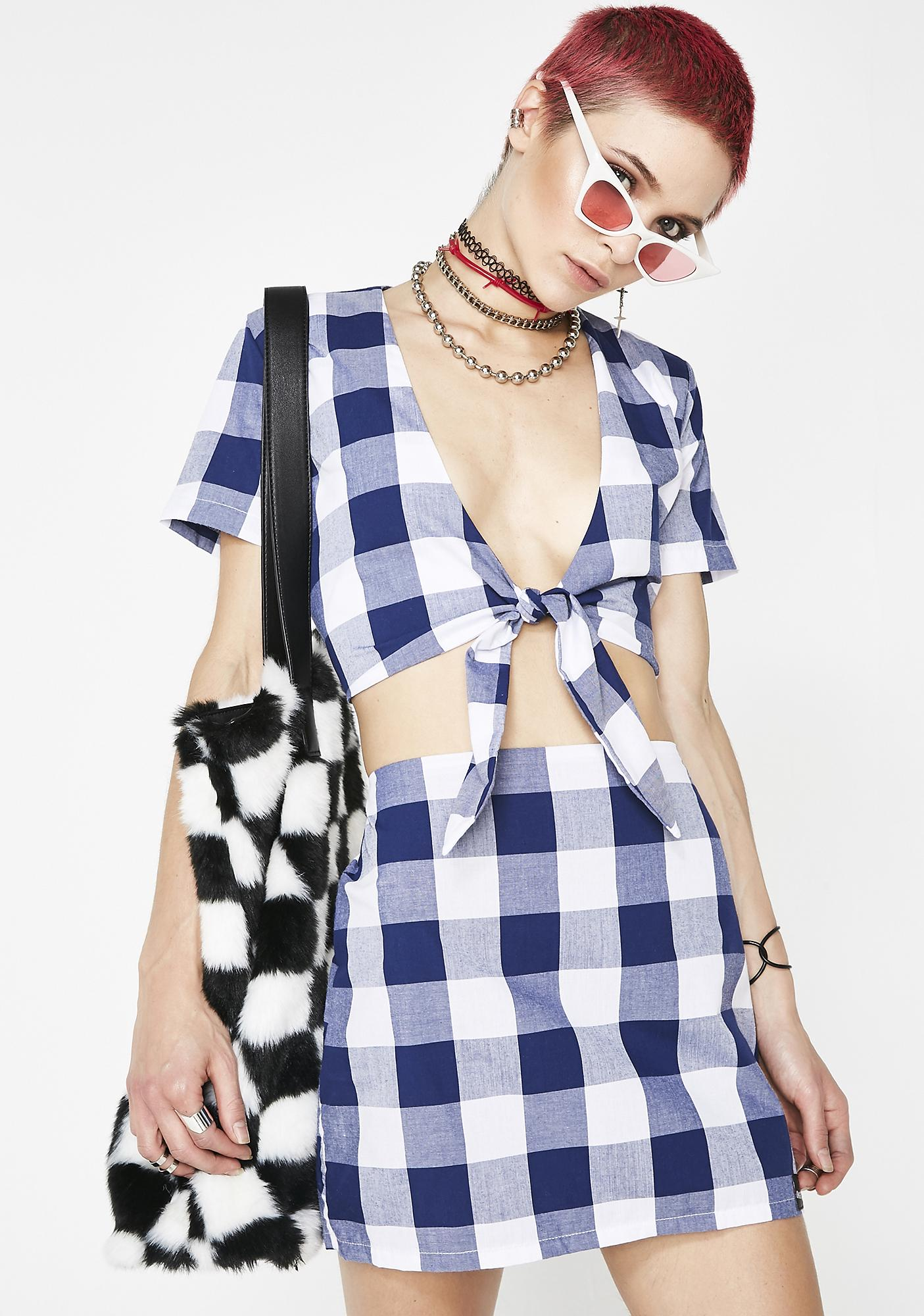 O Mighty Gingham Baby Skirt