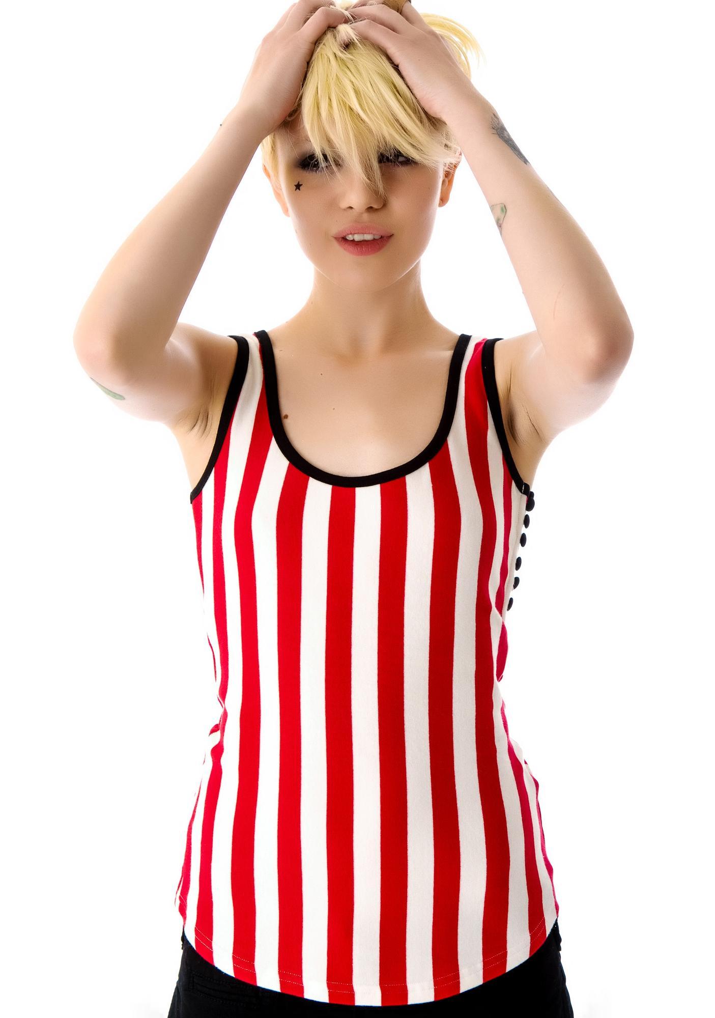Sourpuss Clothing Misery Striped Tank Top