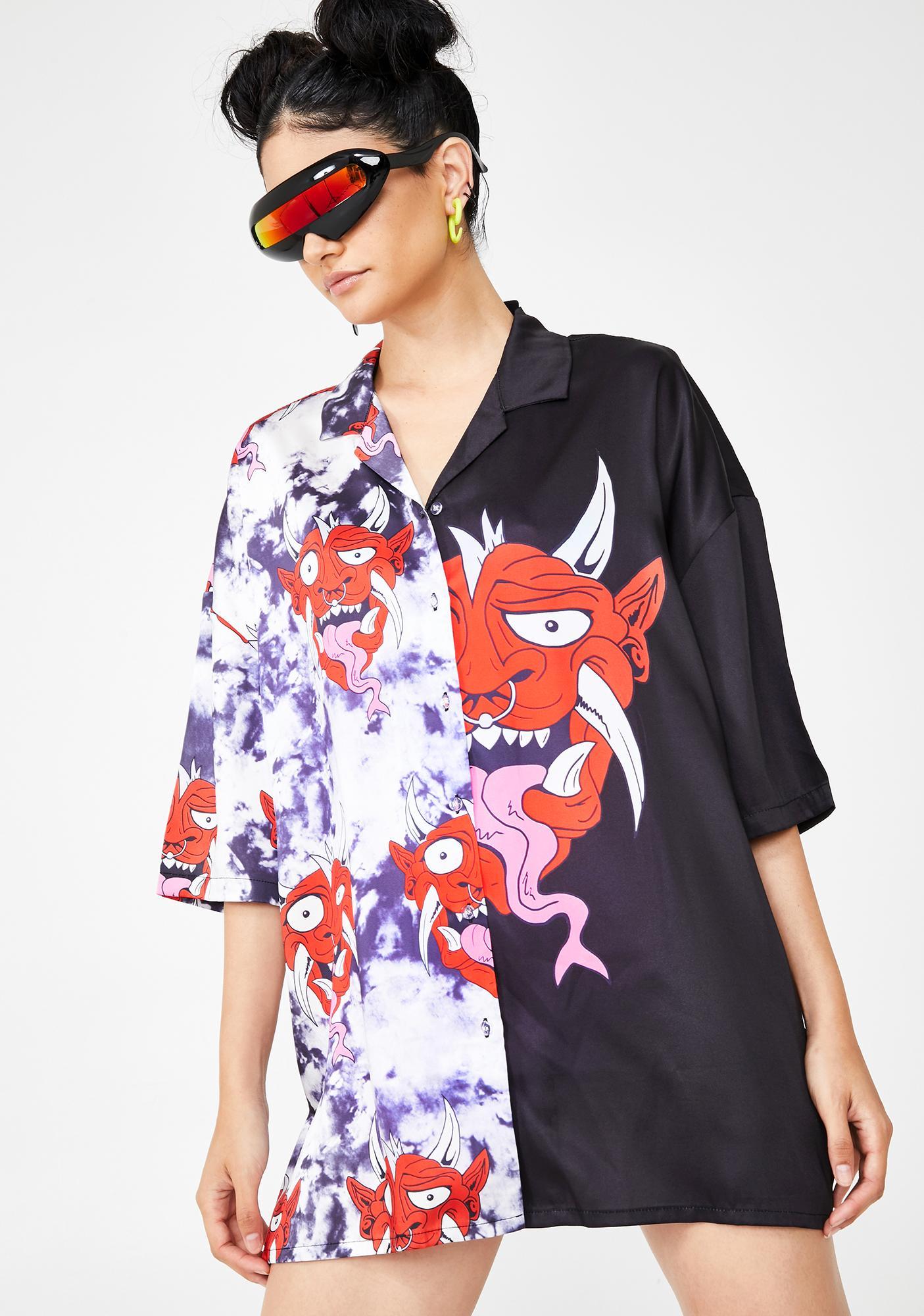 Jaded London Half & Half Devil Print Oversized Shirt