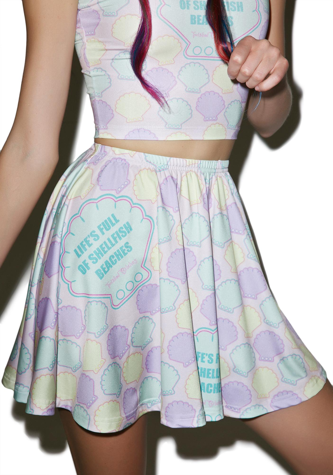 Twisted Bitches Shellfish Beaches Skater Skirt