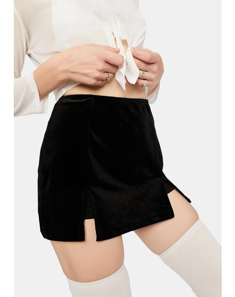 Milk N' Cookies Velour Mini Skirt