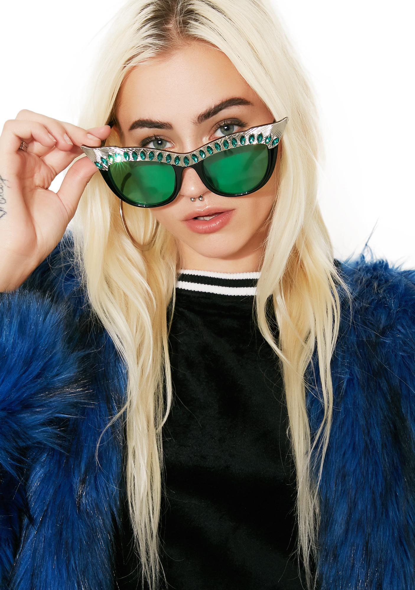 PERVERSE Emerald Nefertiti Sunglasses