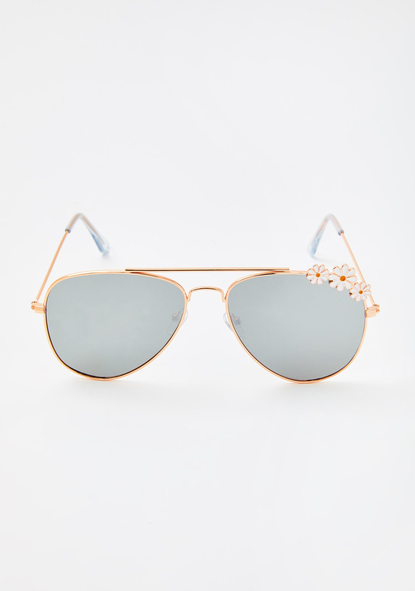 Chrome Always In Bloom Aviator Sunglasses