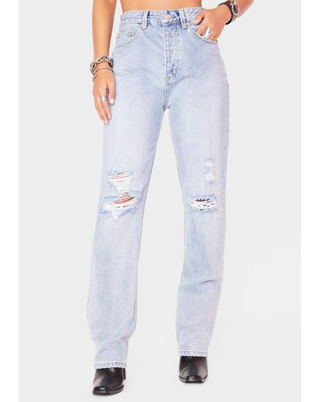 Straight Up Distressed Denim Jeans