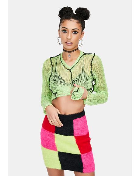 Scope Patchwork Knit Mini Skirt