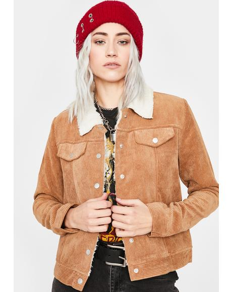 Tan Cool N Collected Corduroy Jacket
