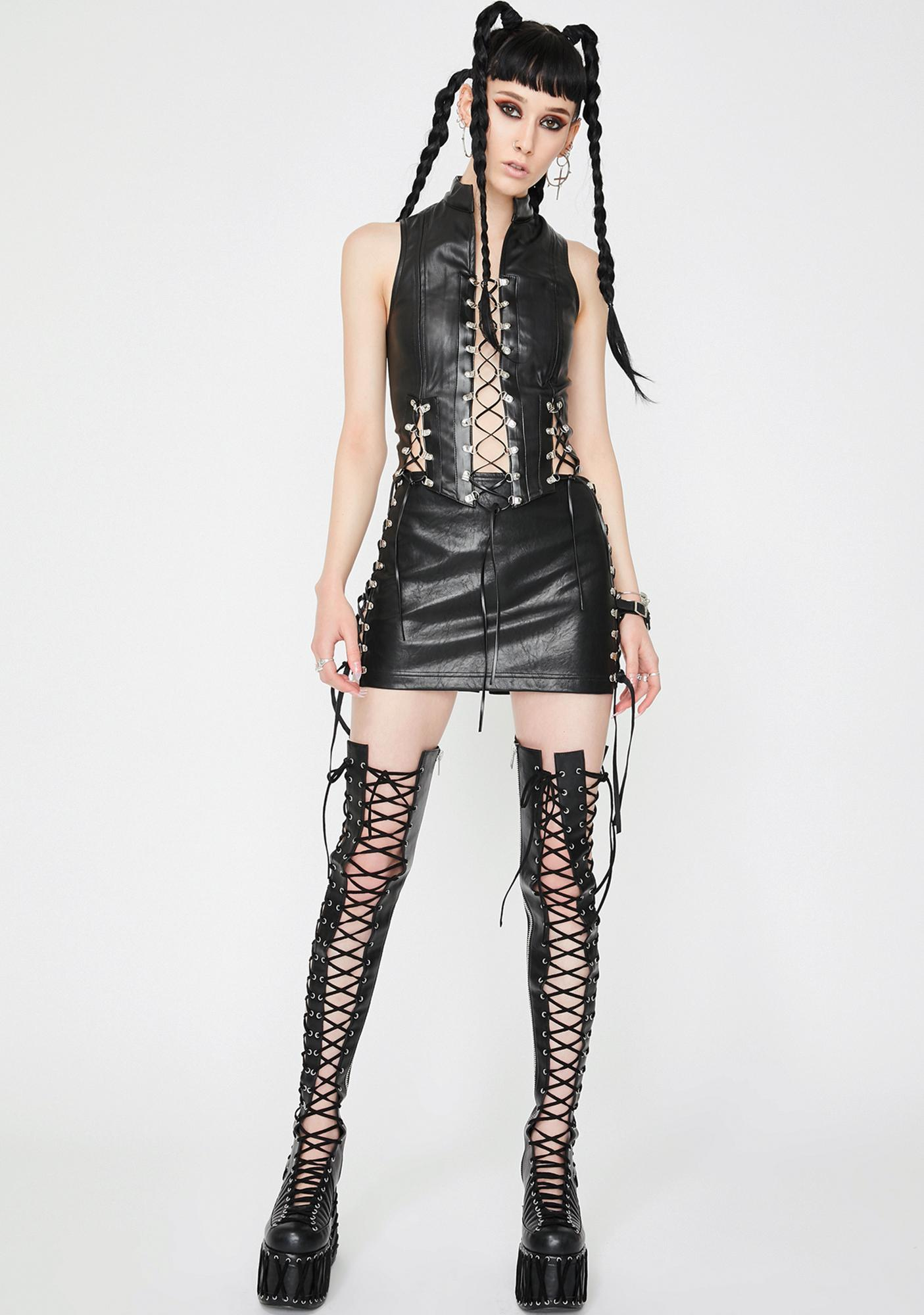Jaded London Black Vegan Leather Corset Top