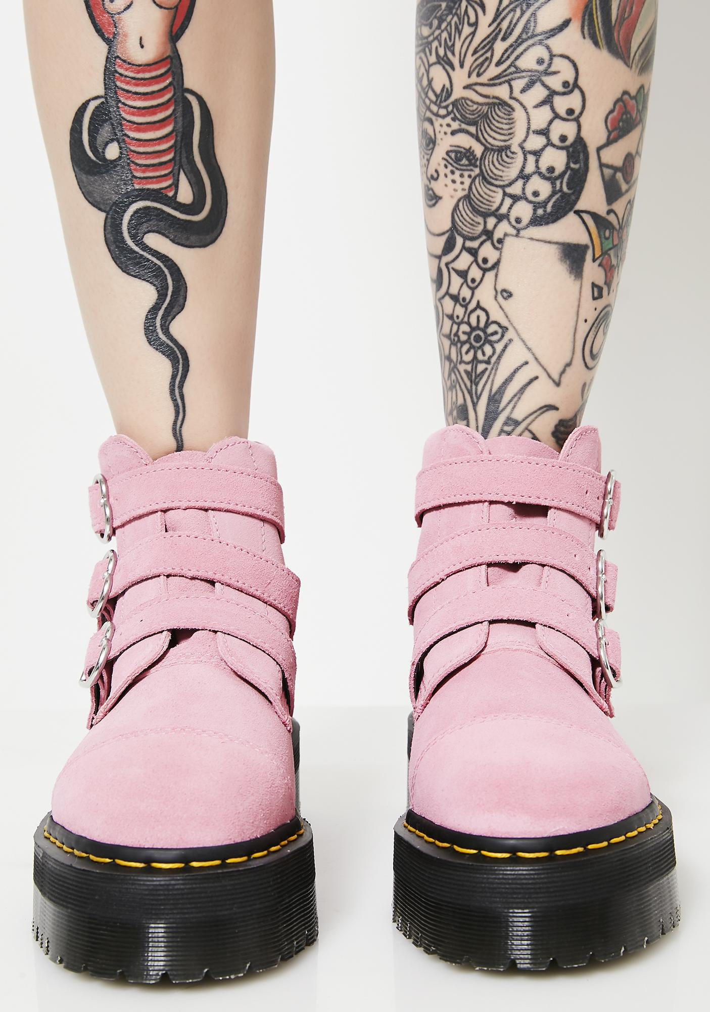 Dr. Martens X Lazy Oaf Pink Lo Buckle Boots