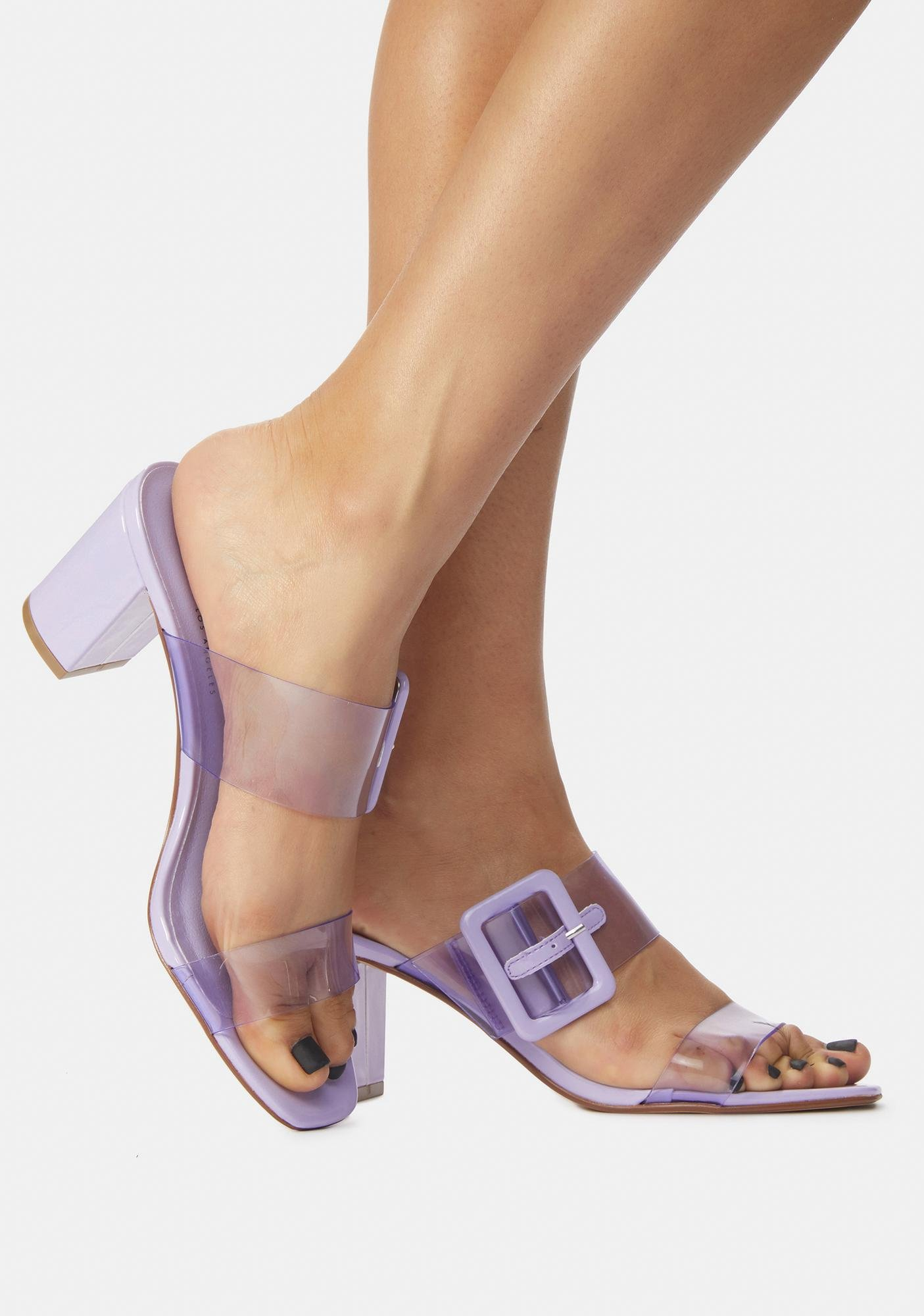 Chinese Laundry Purple Yippy Clear Slide Sandals