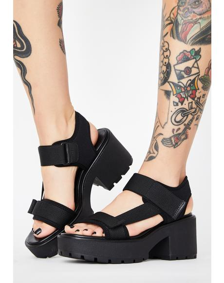 Black Textile Dioon Platform Sandals