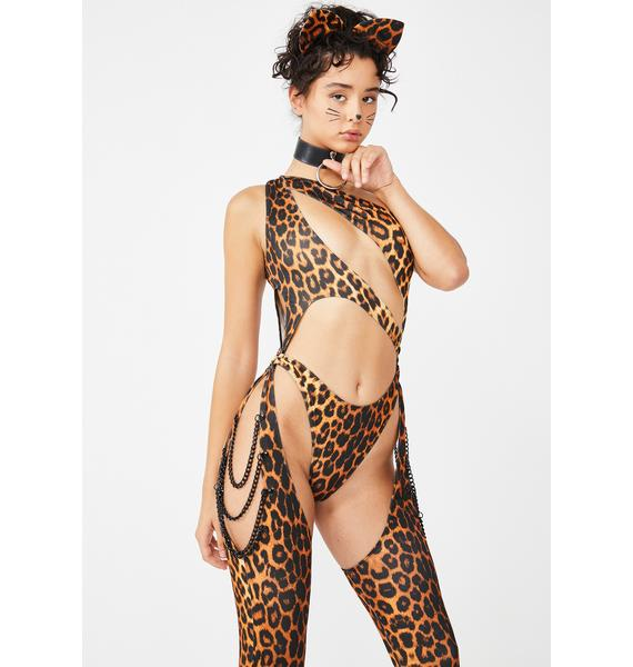 Dolls Kill Kitty Prism Moonwalk Cut-Out Catsuit