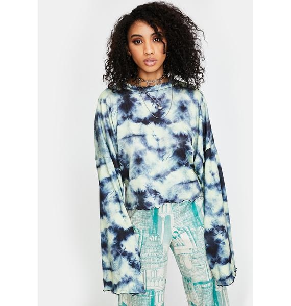 NEW GIRL ORDER Tie Dye Knitted Crop Top