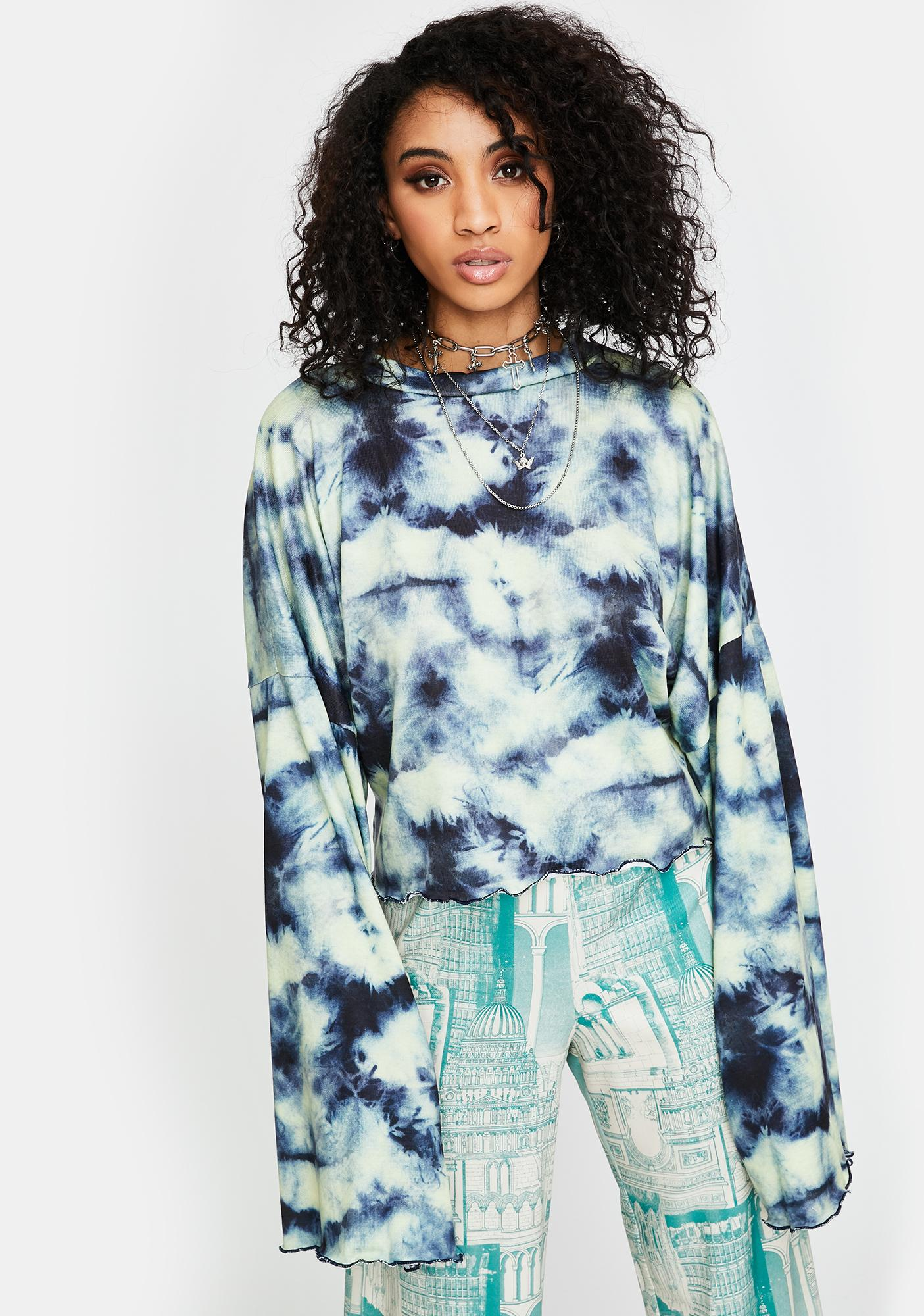 NEW GIRL ORDER Tie Dye Knitted Crop Top