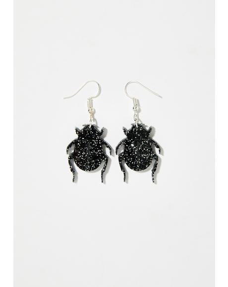 Beetle Glitter Earrings