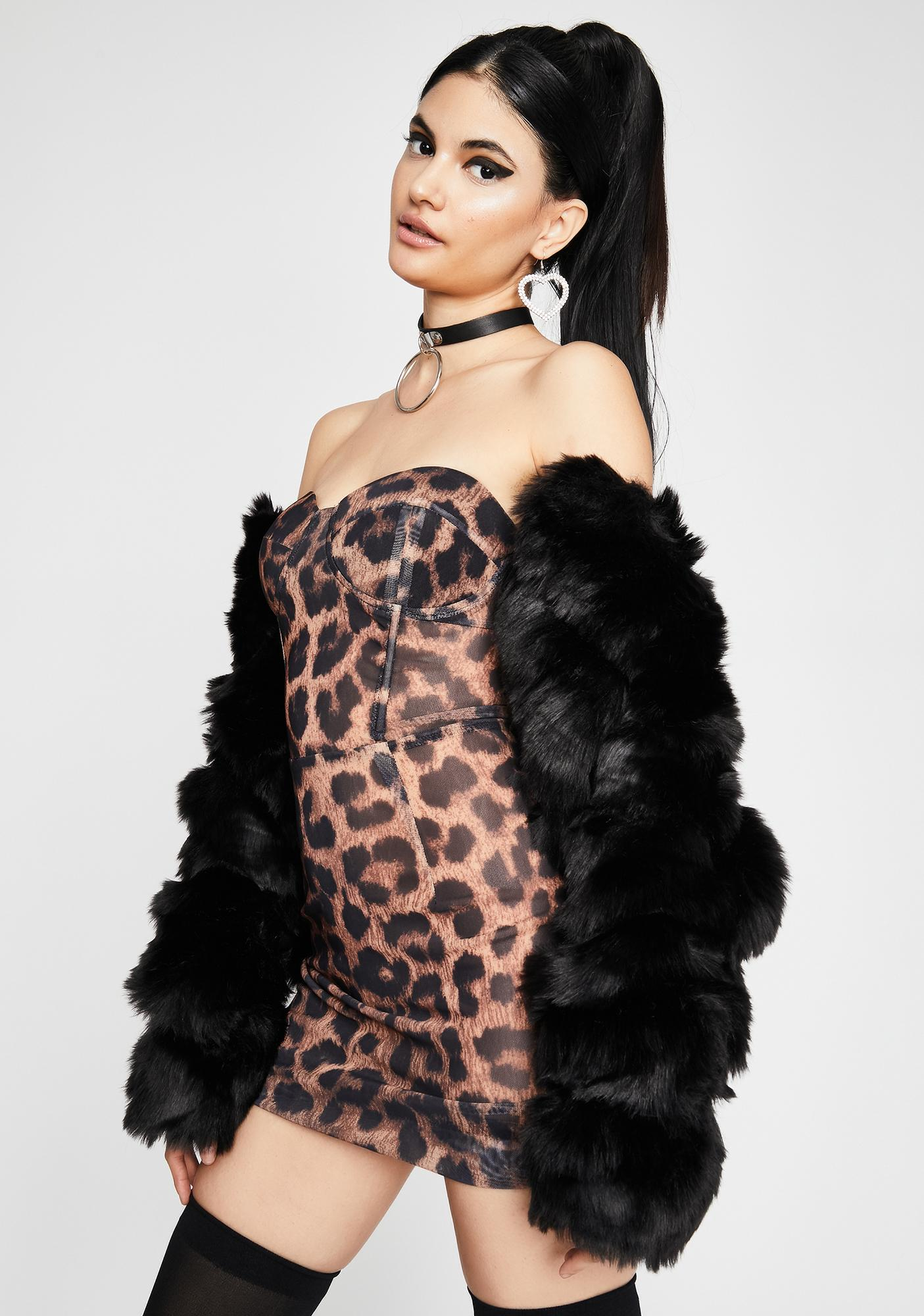 Caught Cheetin' Strapless Dress