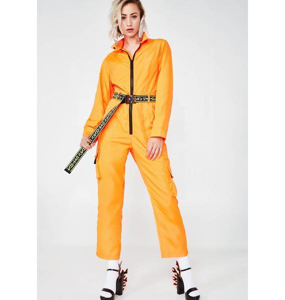 Jaded London Neon Orange Boilersuit With Industrial Belt